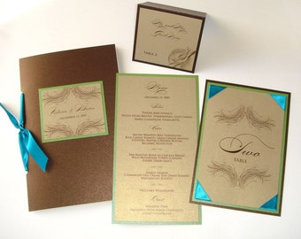 Victoria Peacock Wedding Reception Items - Menu, Table Number, Place Card, & Program Sample Set - Gold, Brown, Turquoise