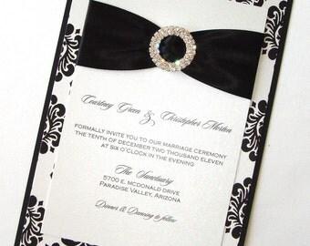 Damask Wedding Invitation - Elegant Wedding Invitation - Romantic Wedding Invitation - Black White Invite - Courtney Sample