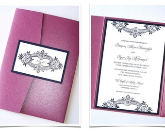 Brianna Floral Pocketfold Wedding Invitation Sample - Plum Purple, Navy, White
