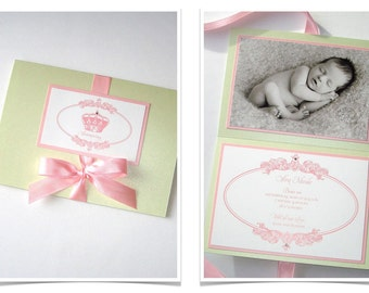 25 - Princess Birth Announcement cards - Baby Announcement - Baby Shower Invitations - Baby Girl Invitations - Pink, White, Mint Green