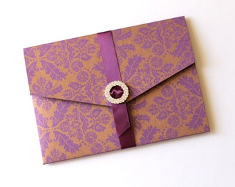 Ginger Damask Wedding Invitation - Purple and Gold Wedding - Crystal Buckle Invitation - Couture Wedding Invitation - Sample