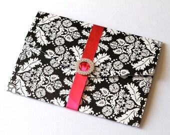 Ginger Pocket fold Crystal Buckle Damask Invitation Set Sample - Black, White and Hot Pink