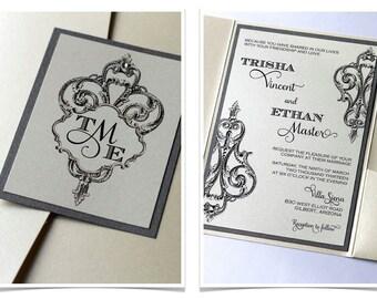 Trisha Vintage Pocketfold Wedding Invitation Sample - Vintage Style - Ecru, Creme, Ivory and Pewter Grey