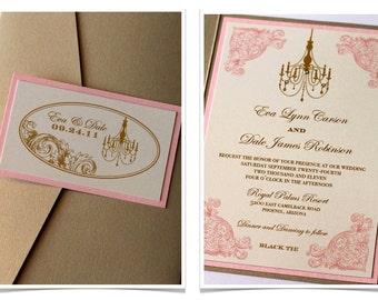 Vintage Wedding Invitation - Elegant Wedding Invitation - Rustic Wedding Invitation - Romantic Wedding - Ivory Gold Blush Pink - Eva Sample