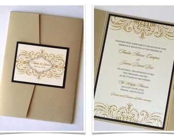 Vintage Wedding Invitation, Elegant Wedding Invitation, Lace Wedding Invitation, Ornate Design, Ivory, Gold, Black - Thalia Sample