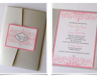 Thalia Scroll Design Pocketfold Wedding Invitation Sample - Silver, White and Pink