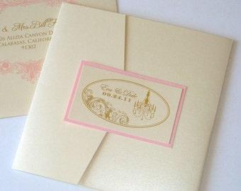 Eva Vintage Wedding Invitation - Square pocket fold - Custom Wedding Invitation - Ecru, Gold and Light Pink - Sample