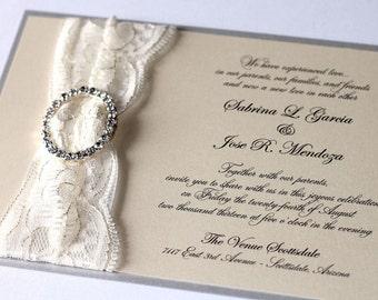 Lace Wedding Invitation - Elegant Wedding Invitation - Vintage Wedding Invitation - Rustic Ivory, Cream, Silver, Lace - Sabrina Sample