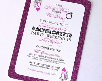 Stella Las Vegas Bachelorette Party Invitation - Glitter Invitation - Playing Card Invitation - Hot Pink Glitter, Black and White - Qty 25