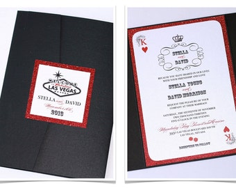 Stella Las Vegas Glitter Wedding Invitation - Playing card Invitation - Casino Invitation - Black, White and Red Glitter - Sample