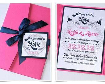 Layla Pocket fold Wedding Invitation Sample - Hot Pink, Navy Blue and White