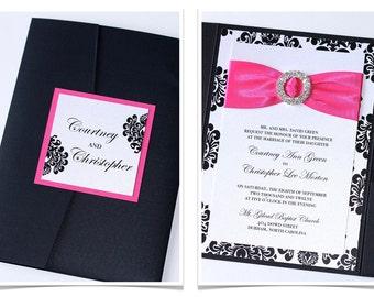 Damask Wedding Invitation - Elegant Wedding Invitation - Modern Wedding Invitation - Embellished - Black White Hot Pink - Courtney Sample