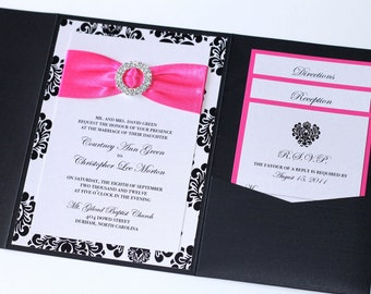 damask wedding invitation elegant wedding invitation modern wedding invitation embellished black white - Damask Wedding Invitations