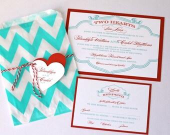 Brooklyn Chevron Wedding Invitation - Chevron Design - Custom Wedding Invitation - Red, Turquoise and White - Sample