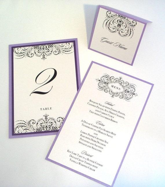 Thalia Scroll Wedding Reception Items - Menu, Table Number, Program, Place card Sample Set- Purple, White, Lilac, Lavender