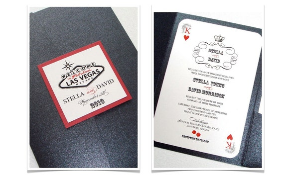 Vegas Wedding Invitation: Las Vegas Wedding Invitation, Casino Invitation, Playing