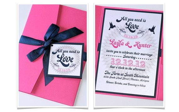 Layla Pocket fold Wedding Invitation Sample - Hot Pink, Navy Blue and White
