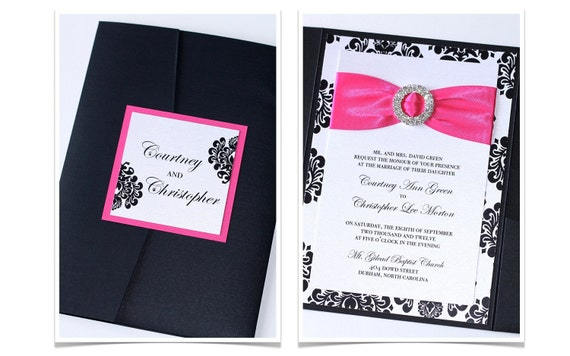 Damask Wedding Invitation - Elegant Wedding Invitation - Modern Wedding Invitation - Embellished - Black White Hot Pink - Courtney Sample