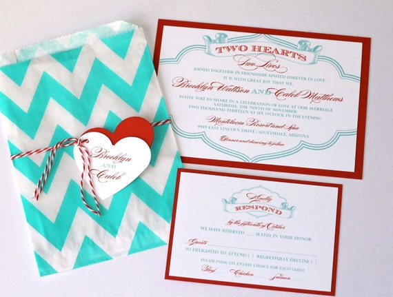 Brooklyn Wedding Invitation Sample - Chevron Design - Red, Turquoise and White
