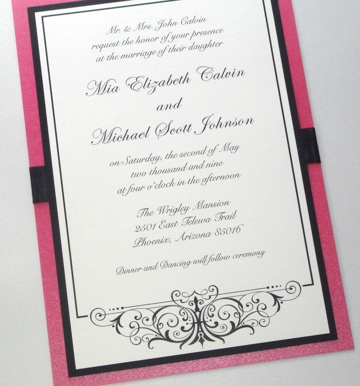 Flat Wedding Invitations: Mia Scroll Flat Wedding Invitation Sample By
