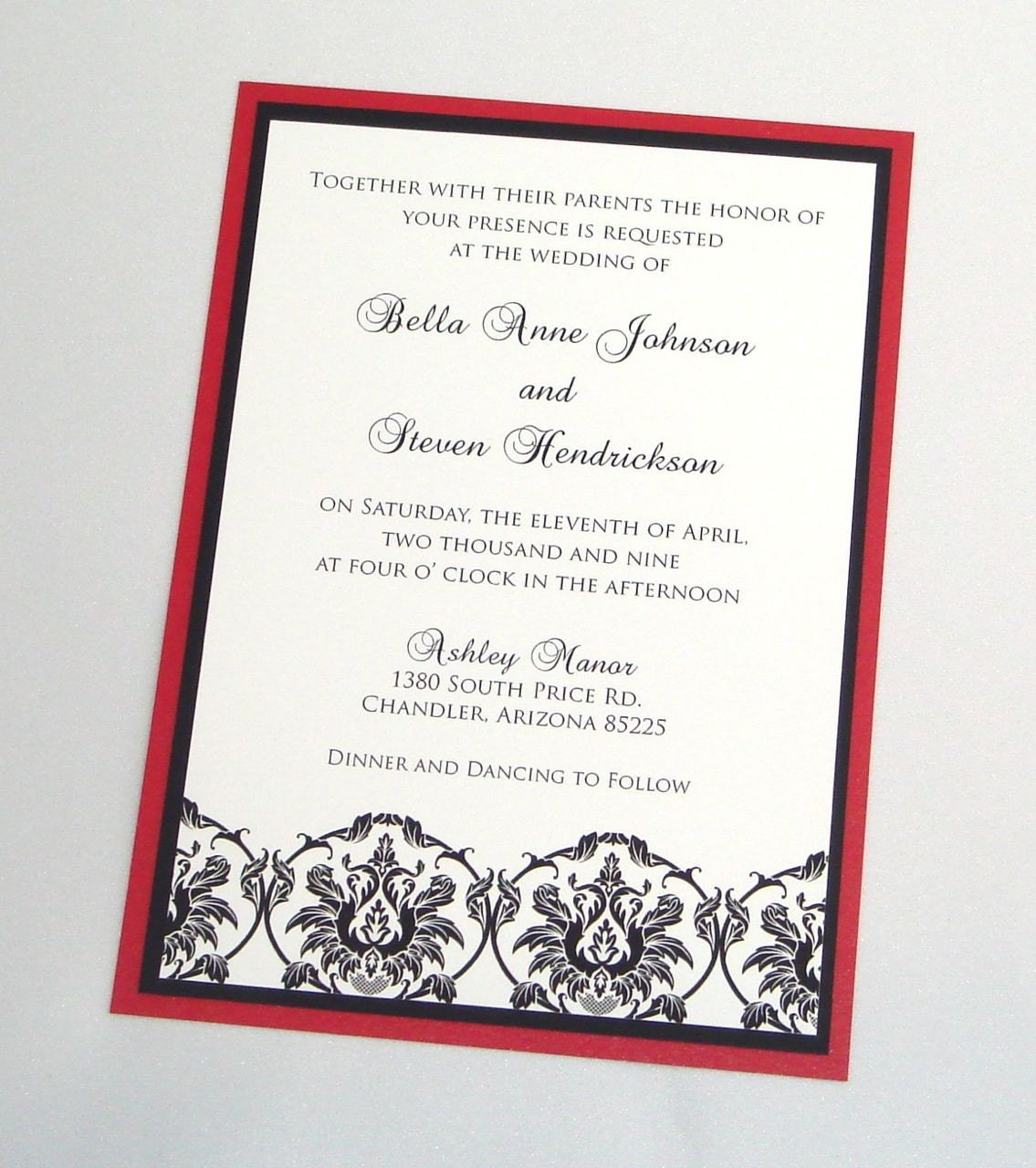 Bella Damask Wedding Invitation Sample Black White and Red