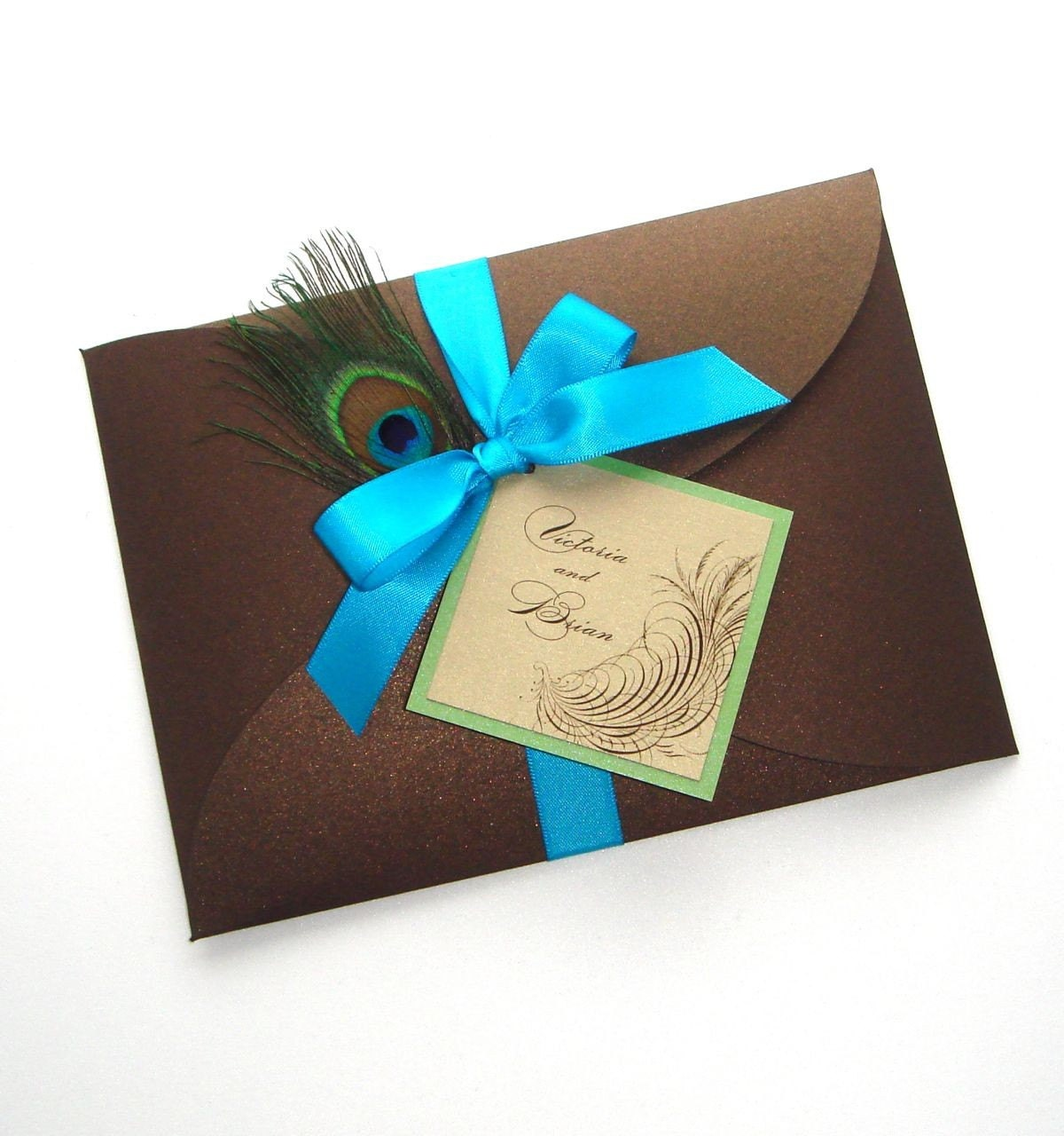 Victoria Peacock Wedding Invitation Sample Feather