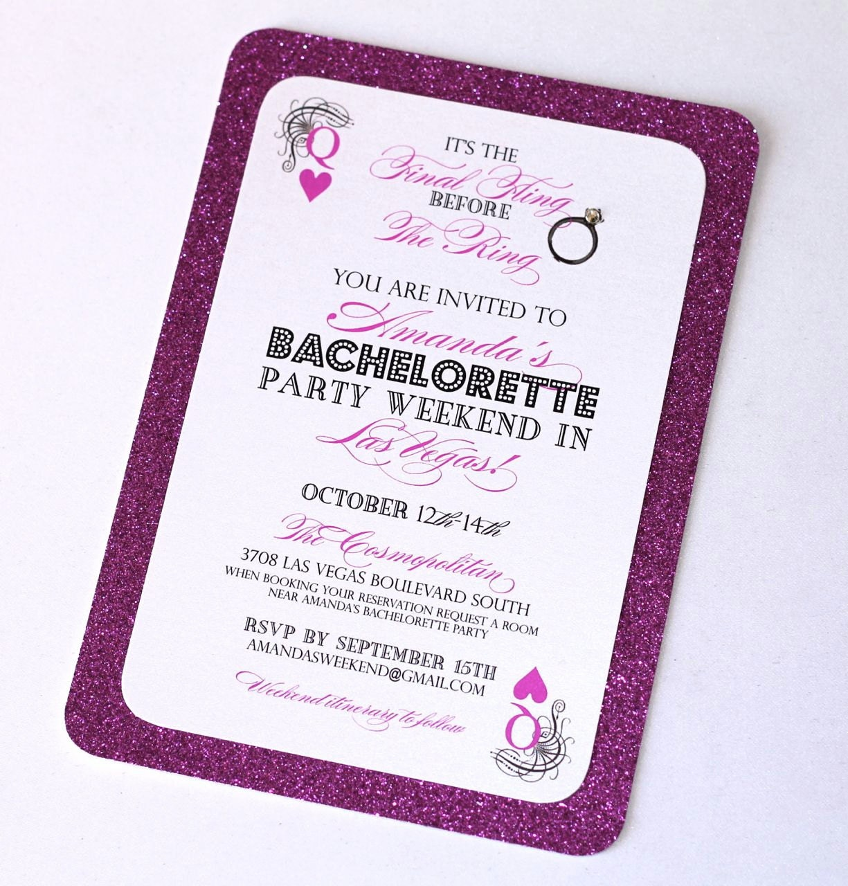 Stella Las Vegas Bachelorette Party Invitation Glitter