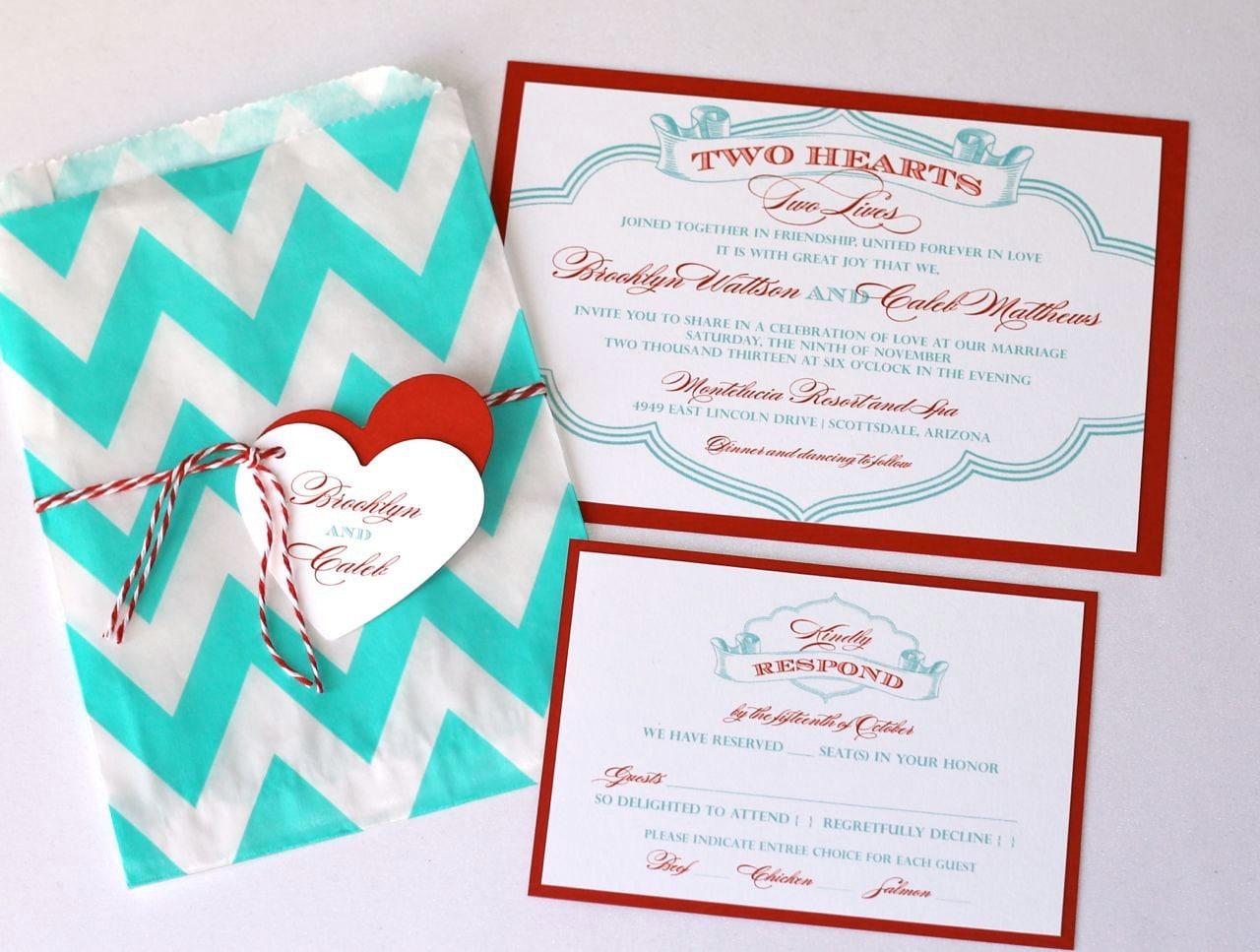 Brooklyn Chevron Wedding Invitation Design Custom