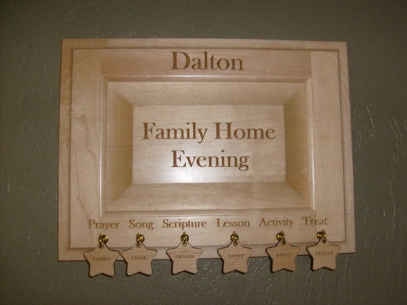 FAMILY HOME EVENING Engraved Wood Plaque PERSONALIZED CUSTOMIZED