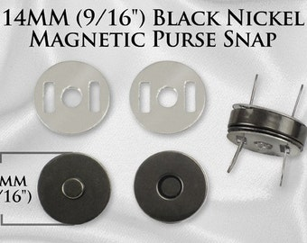 100 Sets Magnetic Purse Snaps - Closures 14mm BLACK NICKEL - Free Shipping