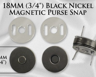 50 Sets Magnetic Purse Snaps - Closures 18mm Black Nickel - Free Shipping (MAGNET SNAP MAG-122)