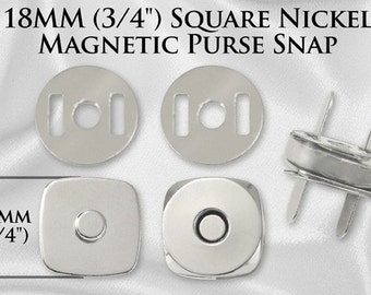 50 Sets Square Magnetic Purse Snaps - Closures 18mm Nickel - Free Shipping (MAGNET SNAP MAG-148)