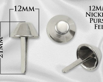 20pcs - 12mm Purse Feet / Handbag Feet - Nickel - Free Shipping (PURSE FEET PFT-110)