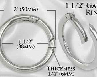 """10pcs - 1 1/2"""" Gate Ring - Nickel - Free Shipping (GATE RING GRG-124)"""