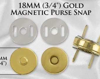300 Sets 18mm 3/4 Inch GOLD Magnetic Purse Snaps Closures (MAG-118)