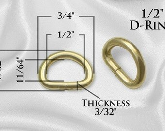 """100pcs - 1/2"""" Metal D Rings Dee Rings Non Welded GOLD - Free Shipping (D-RING DRG-102)"""