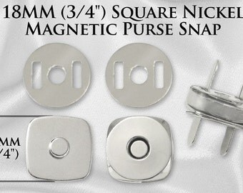 30 Sets Square Magnetic Purse Snaps - Closures 18mm Nickel - Free Shipping (MAGNET SNAP MAG-148)