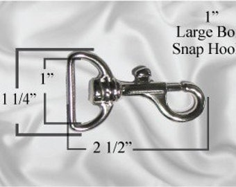"30pcs - 1"" Metal Large Bolt Snap Hook - Nickel - (METAL HOOK MHK-104)"