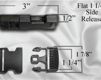 "100pcs - 1 1/4"" Flat Side Release Plastic Buckles (PLASTIC BUCKLE PBK-104)"