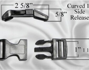 """10pcs - 1"""" Curved Side Release Plastic Buckles - Free Shipping - (CURVED BUCKLE CBK-100)"""