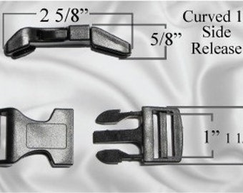 "100pcs - 1"" Curved Side Release Plastic Buckles - Free Shipping - (CURVED BUCKLE CBK-100)"