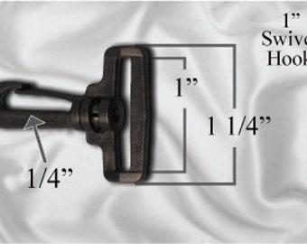 """30pcs - 1"""" Swivel Plastic Hook - Black - Free Shipping (PLASTIC HOOK PHK-106)"""