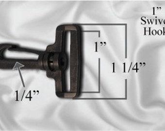 """50pcs - 1"""" Swivel Plastic Hook - Black - Free Shipping (PLASTIC HOOK PHK-106)"""
