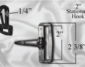"100pcs - 2"" Stationary Plastic Hook - 100pcs Black (PLASTIC HOOK PHK-200)"