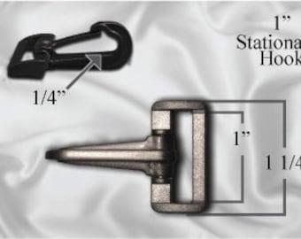 "50pcs - 1"" Stationary Plastic Hook - Black (PLASTIC HOOK PHK-206)"