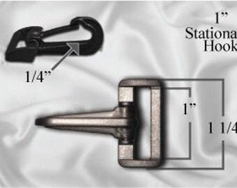 "100pcs - 1"" Stationary Plastic Hook - Black (PLASTIC HOOK PHK-206)"