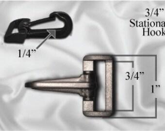 "100pcs - 3/4"" Stationary Plastic Hook - Black (PLASTIC HOOK PHK-208)"