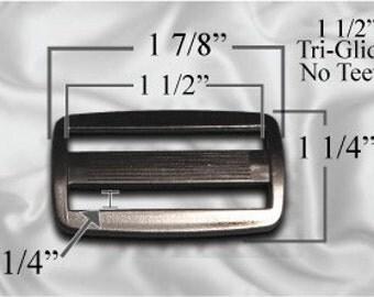 """100pcs - 1 1/2"""" Tri Glide No Teeth - Black Plastic - (PTG-102)"""