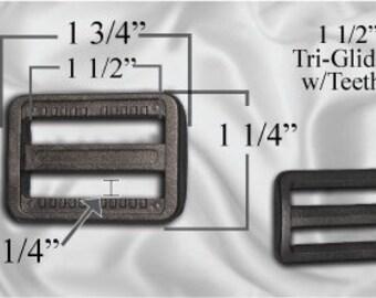 "100pcs - 1 1/2"" Tri Glide With Teeth - Black Plastic - (PTG-202)"