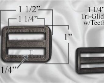 "10pcs - 1 1/4"" Tri Glide With Teeth - Black Plastic - (PTG-204)"